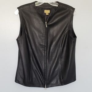 Caslon black leather vest